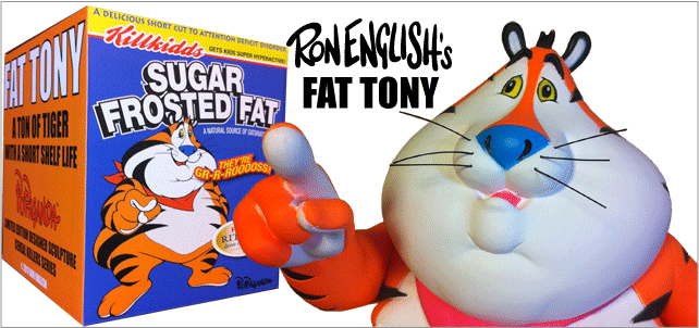 Ron English( ��󡦥��󥰥�å���)��Fat Tony�ʥե��åȡ��ȥˡ��� 9������ե����奢��Fluorescent Orange Open Edition